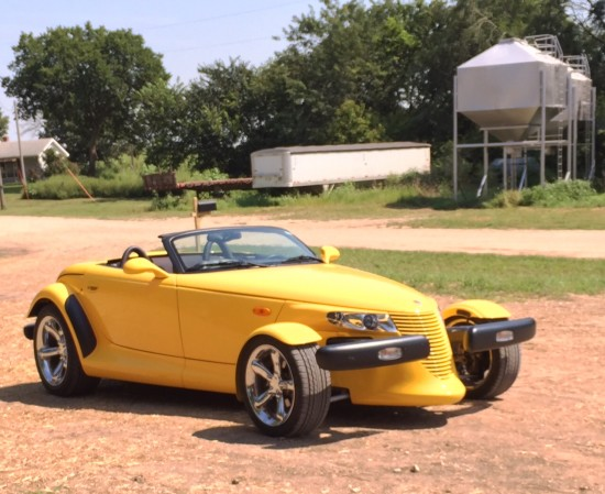 yellow sports car at volland store