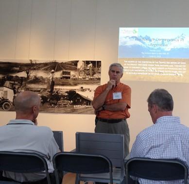 Bill Riley introducing Patagonia speaker at Volland Store
